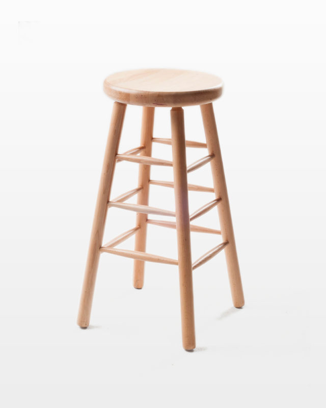 Front view of Blond Rung Stool