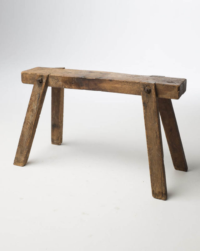 Front view of Wooden Slab Bench