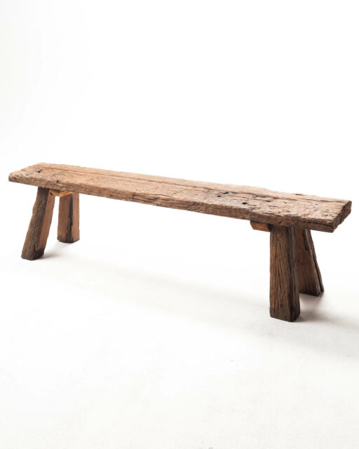 Front view of Reclaimed Wood Bench