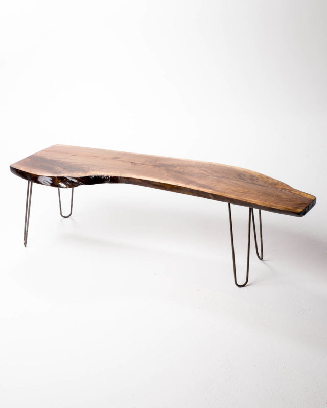 Front view of Hairpin Slab Bench Coffee Table