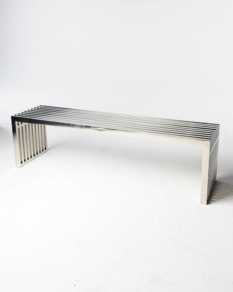 Front view of Silver Stripe Bench Table