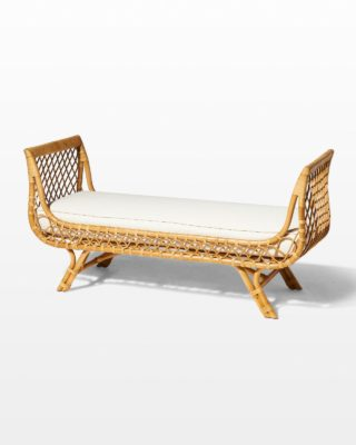 Front view of Preston Rattan Lounge Bench