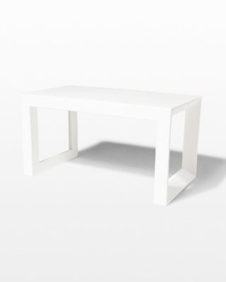 Front view of Molded White Acrylic Frame Bench