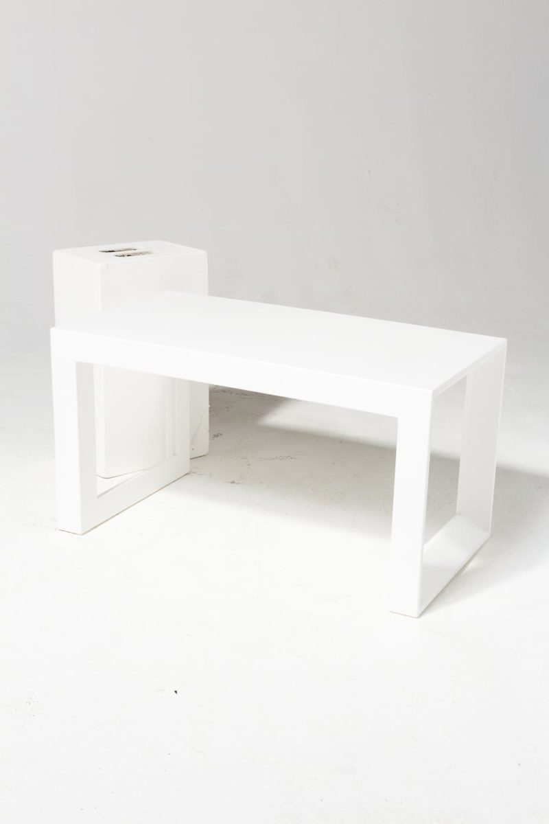 Alternate view 1 of Molded White Acrylic Frame Bench