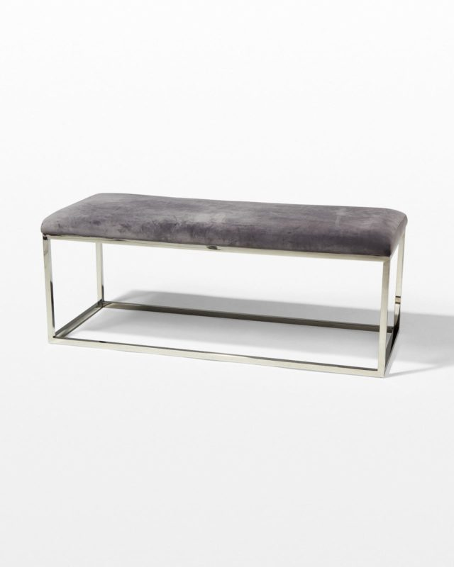 Front view of Forte Grey Sheepskin and Chrome Bench