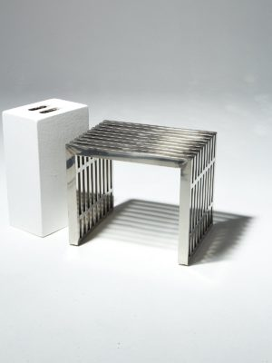 Alternate view 1 of Small Silver Stripe Bench Side Table