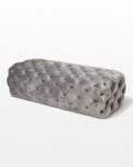 Front view thumbnail of Murphy Tufted Grey Velvet Ottoman