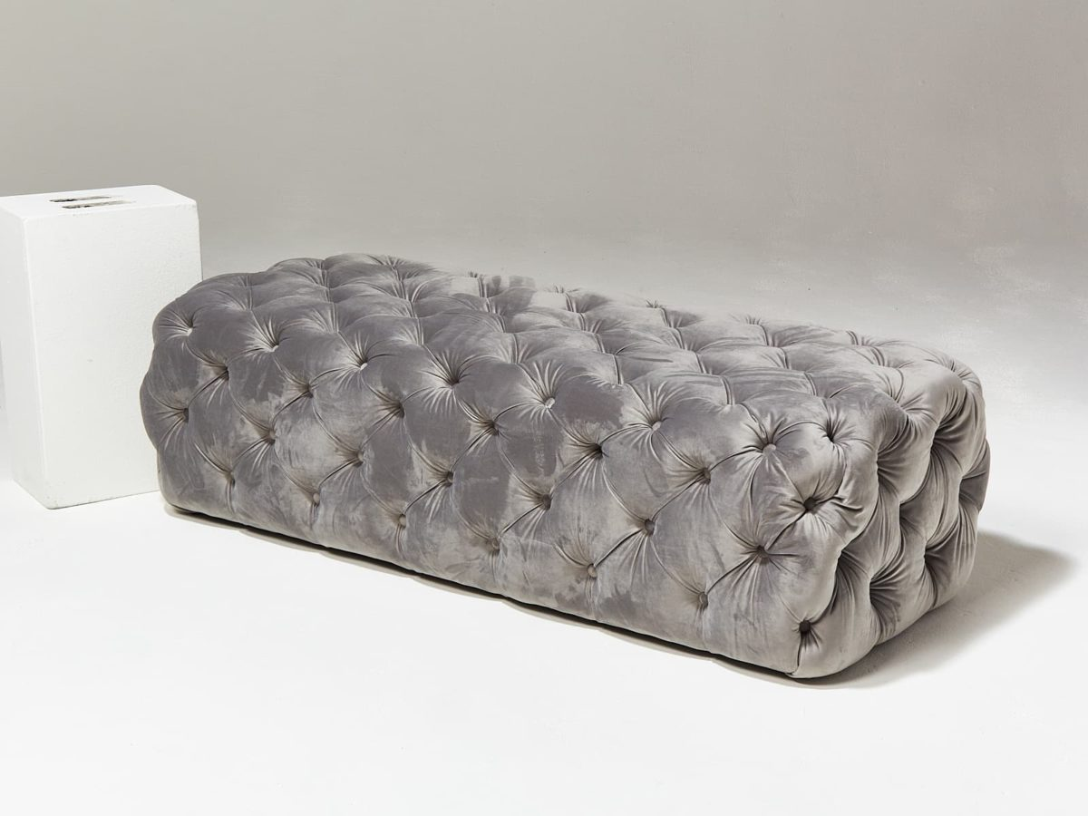 Alternate view 1 of Murphy Tufted Grey Velvet Ottoman