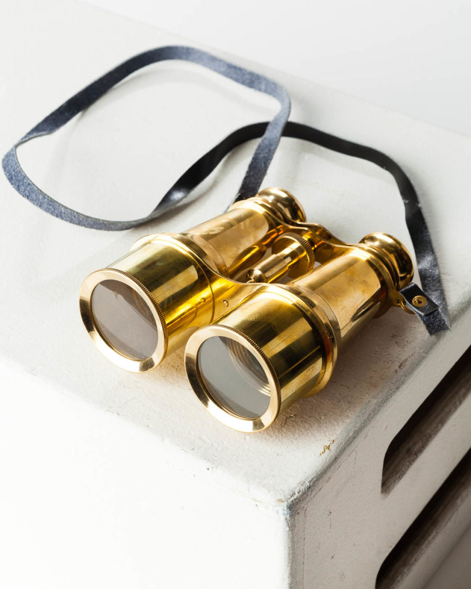 Front view of Brass Binoculars