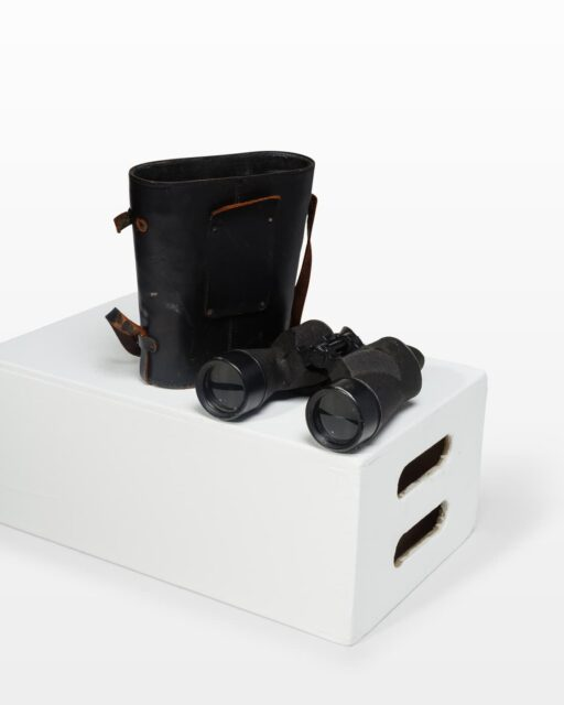 Front view of Pride Binoculars and Case