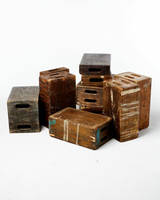 Front view of Distressed Set of 10 Assorted Apple Boxes