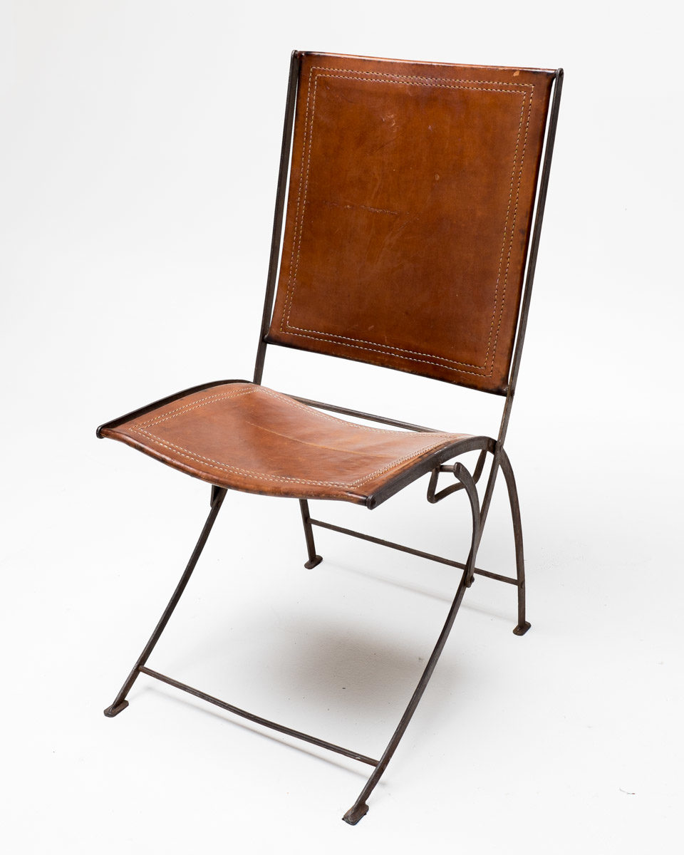 Front view of Vintage Leather Folding Chair