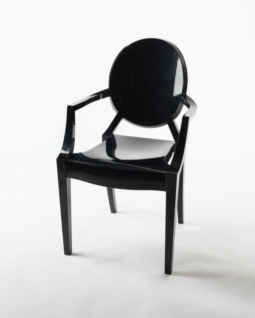 Front view of Black Round Back Acrylic Chair
