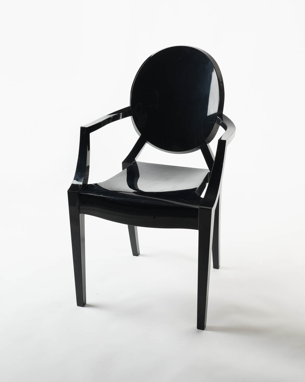 Ch010 Black Round Back Acrylic Chair Prop Rental Acme