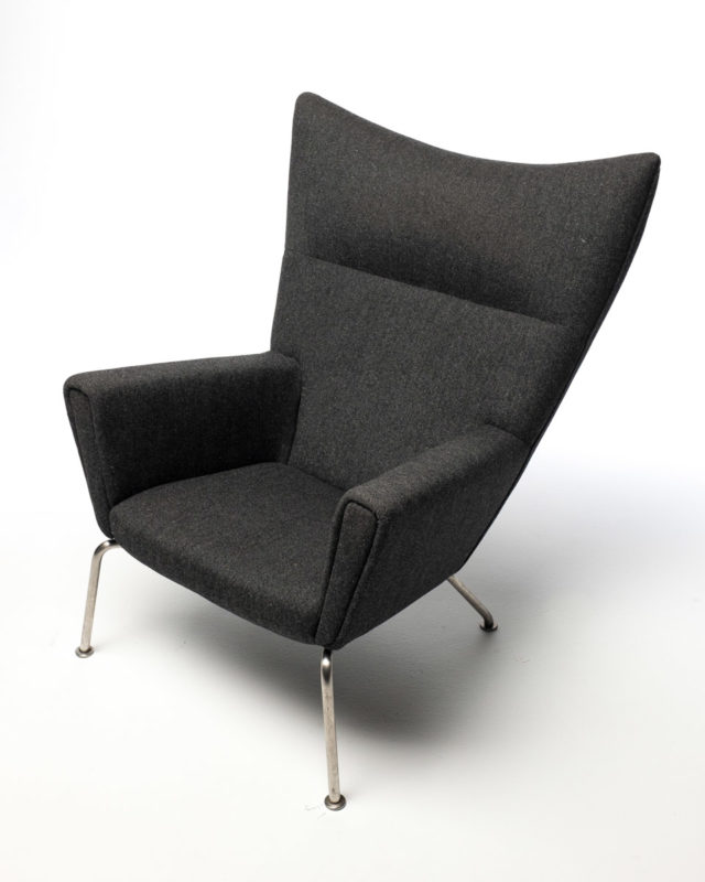 Front view of Charcoal Wool Wing Chair