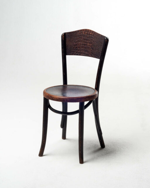 Front view of Wood Embossed Snakeskin Chair