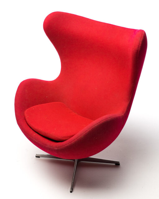Front view of Red Egg Chair