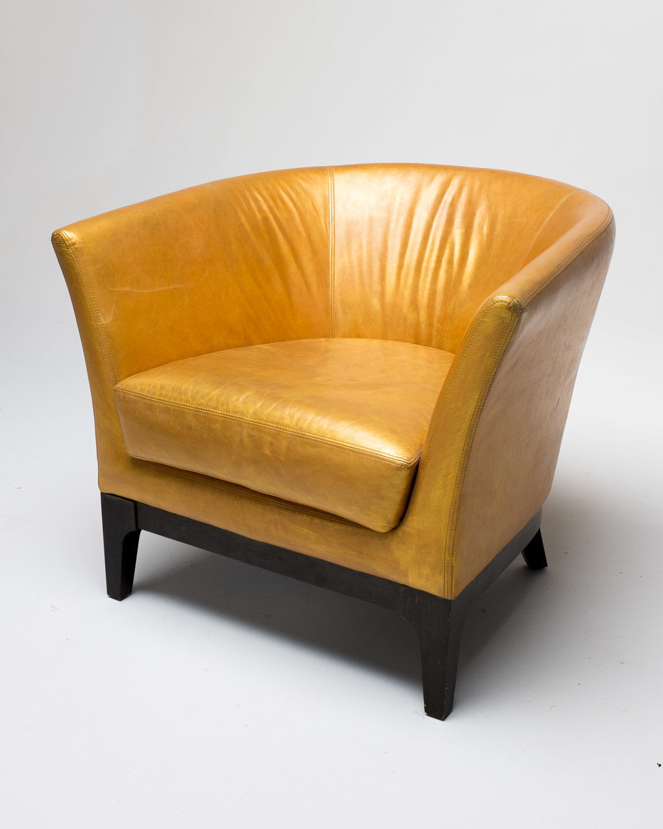 Front view of Gold Hue Leather Chair