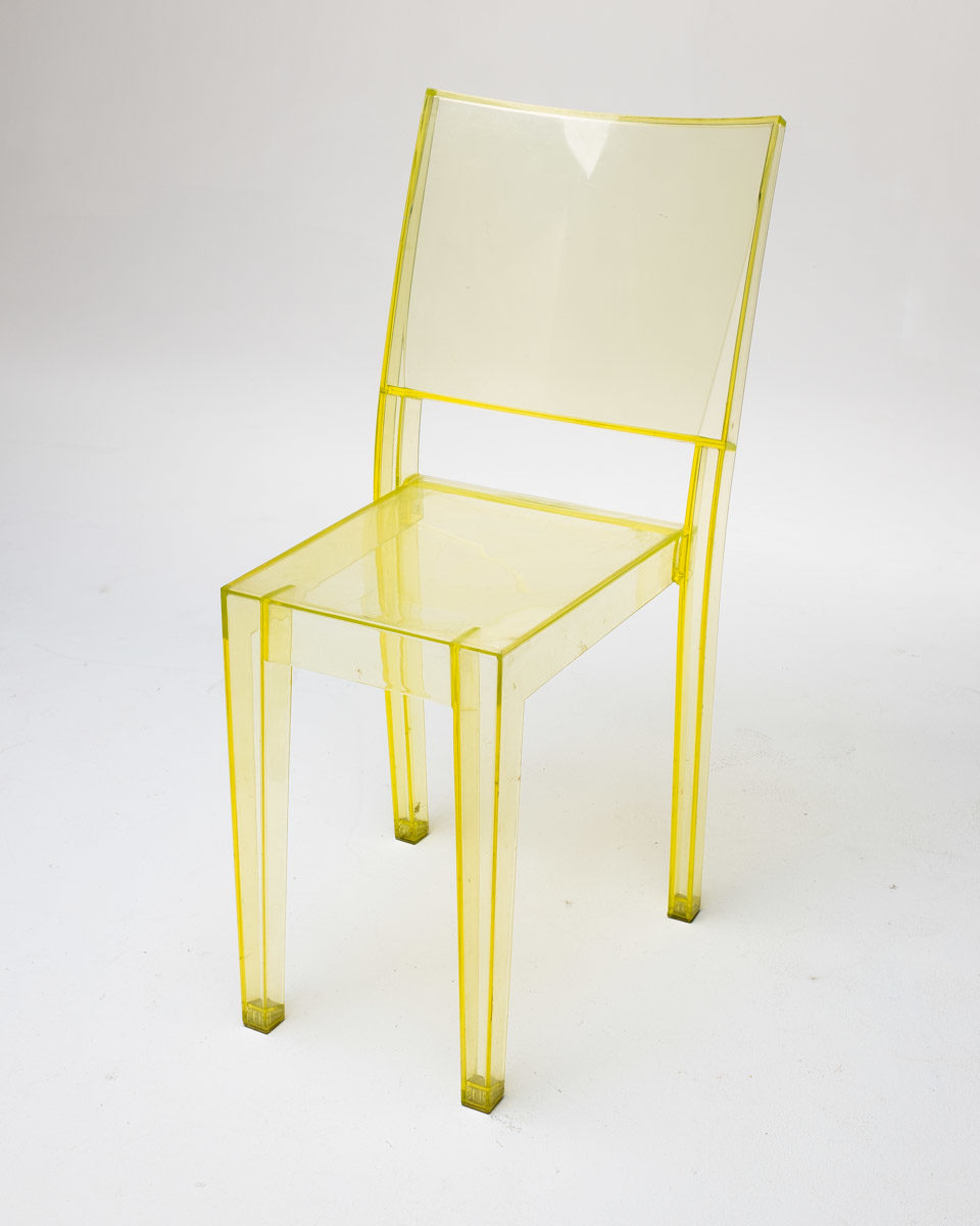 Front view of Translucent Yellow Acrylic Chair