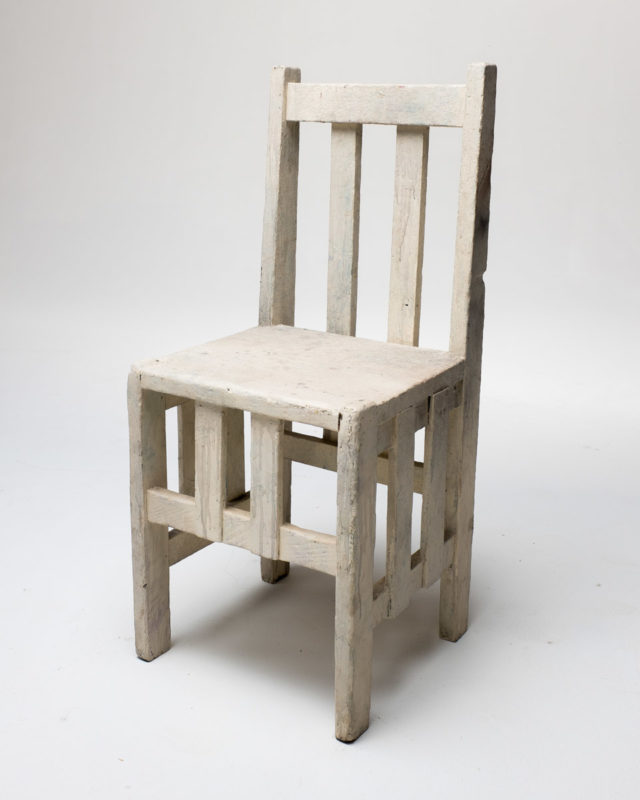 Front view of White Wooden Line Chair