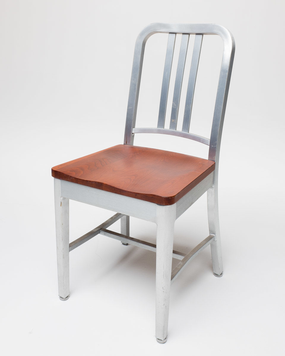 Front view of Aluminum Chair with Wooden Seat