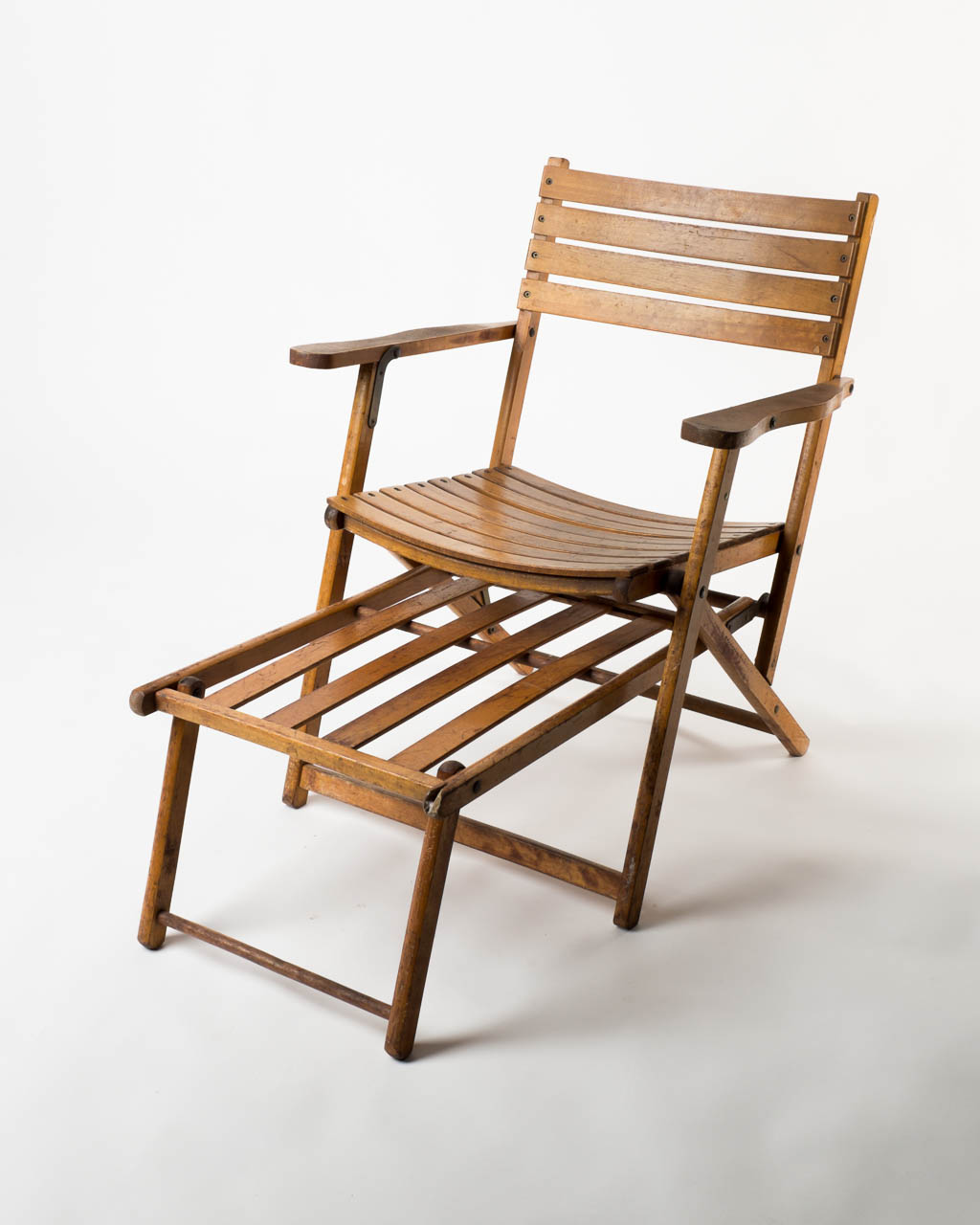 Front View Of Vintage Wooden Beach Chair