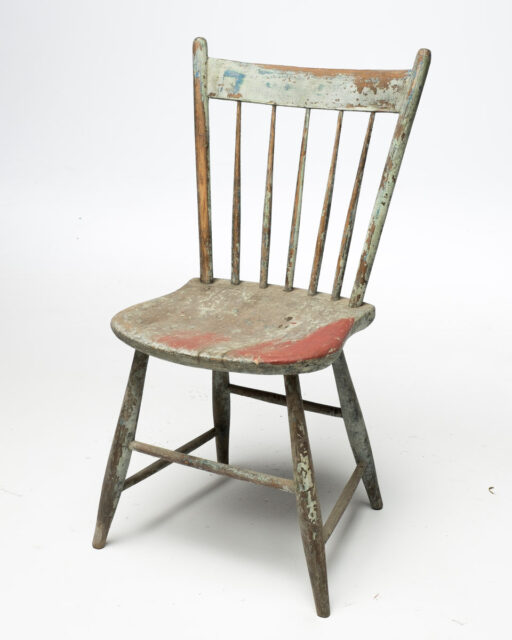 Front view of Weathered Multicolor Wood Chair