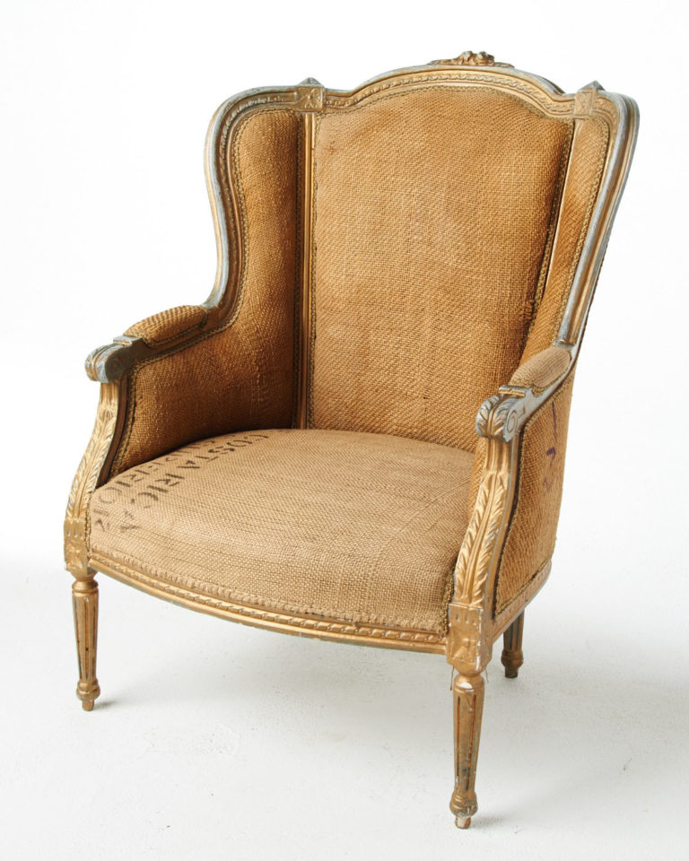 Front view of Burlap Armchair