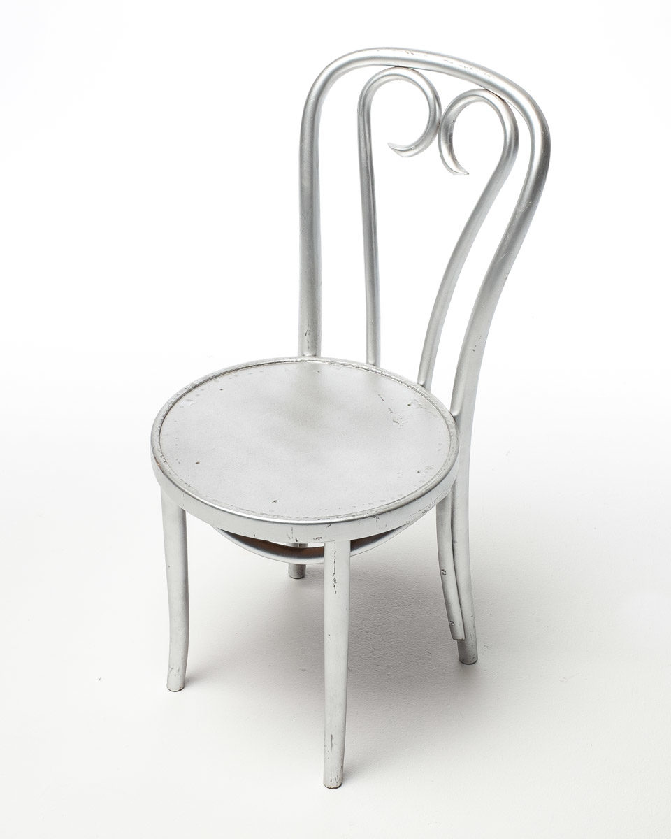 Front view of Silver Cafe Chair