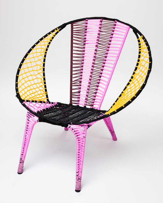 Front view of Woven Yellow Magenta Saucer Chair