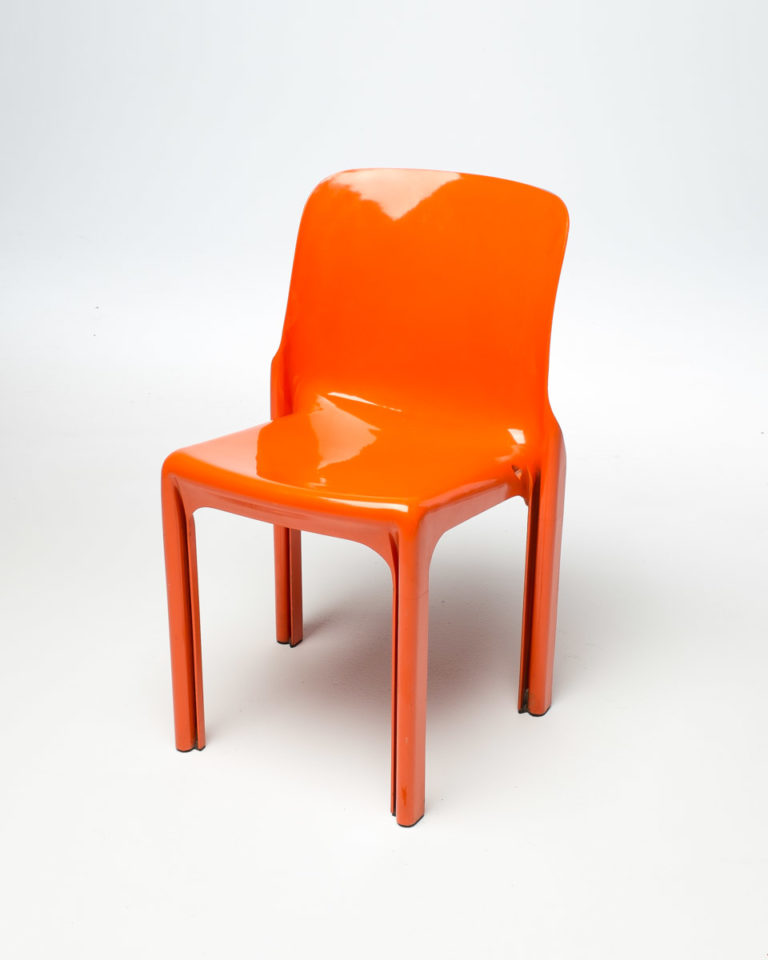 Front view of Orange Acrylic Chair
