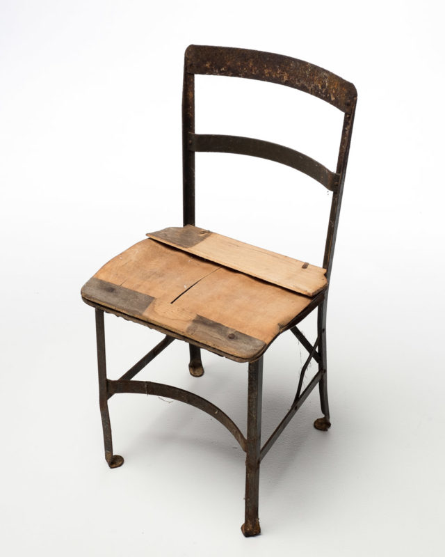 Front view of Metal Wood Seat Farm Chair