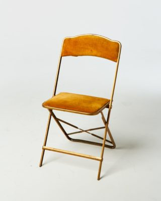 Front view of Gold Velvet Folding Chair