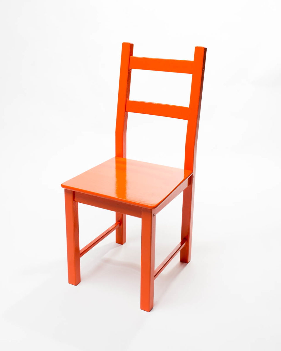 Front view of Classic Orange Chair