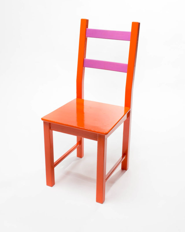 Front view of Classic Orange and Pink Chair