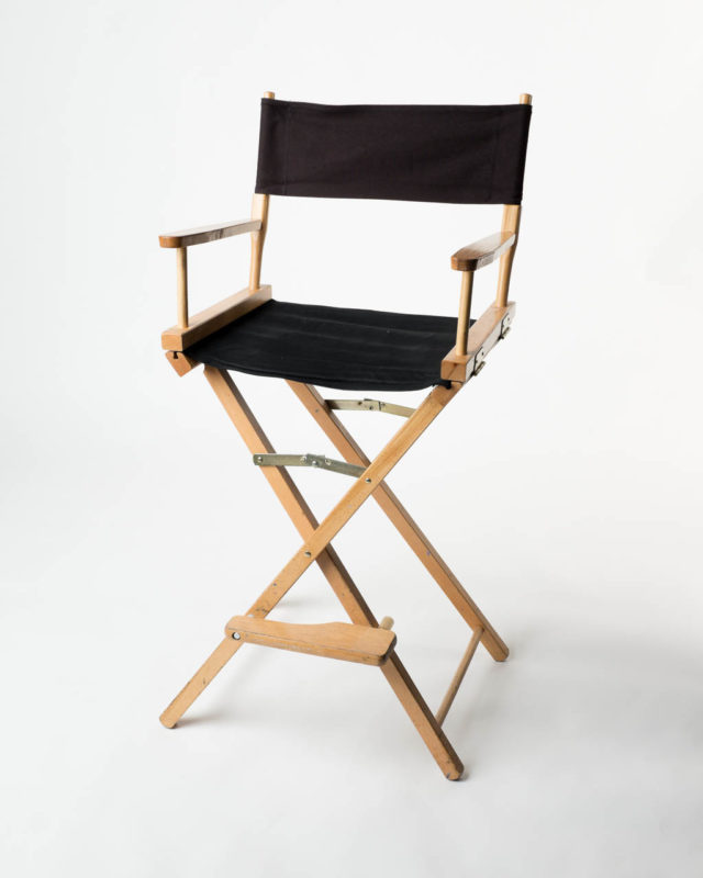 Front view of Natural Black Directors Chair