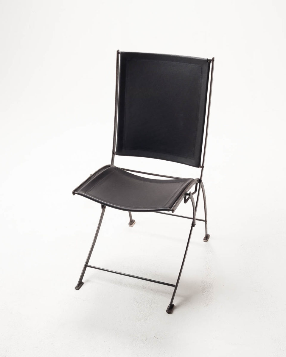 Front view of Black Leather Folding Chair