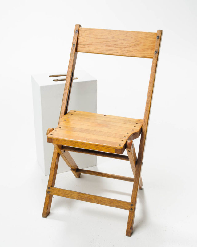 Front view of Blonde Folding Chair