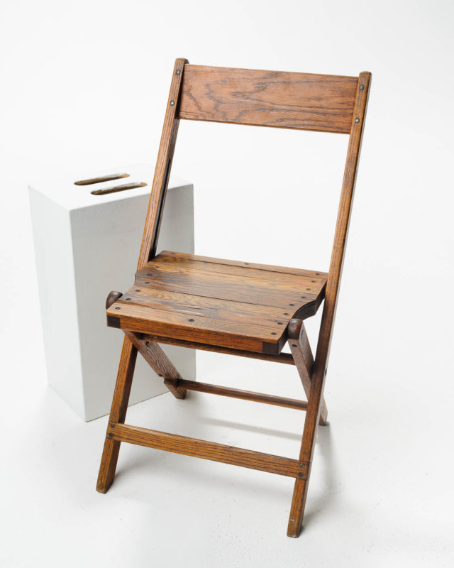 Front view of Walnut Folding Chair
