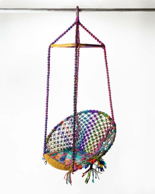 Front view of Multicolor Weave Hanging Lounge