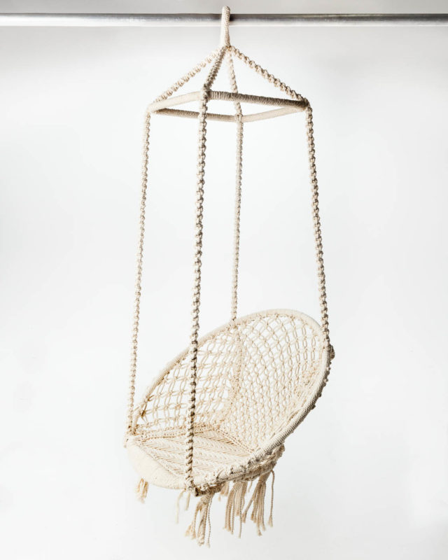 Front view of Ivory Weave Hanging Lounge