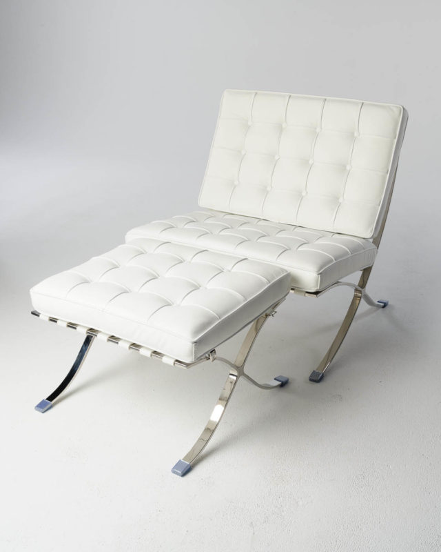 Front view of White Pavilion Chair with Ottoman