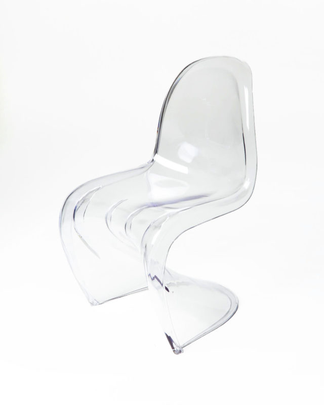 Front view of Mist Acrylic Scoop Chair