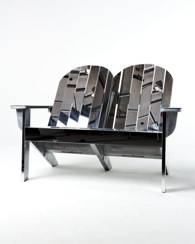 Front view of Mirrored Adirondack Lounge