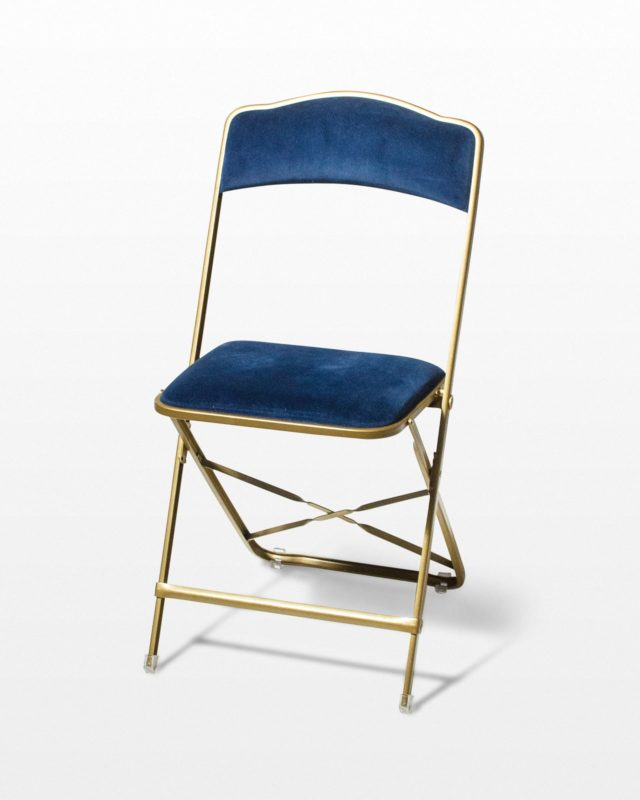 Front view of Blue Velvet Folding Chair