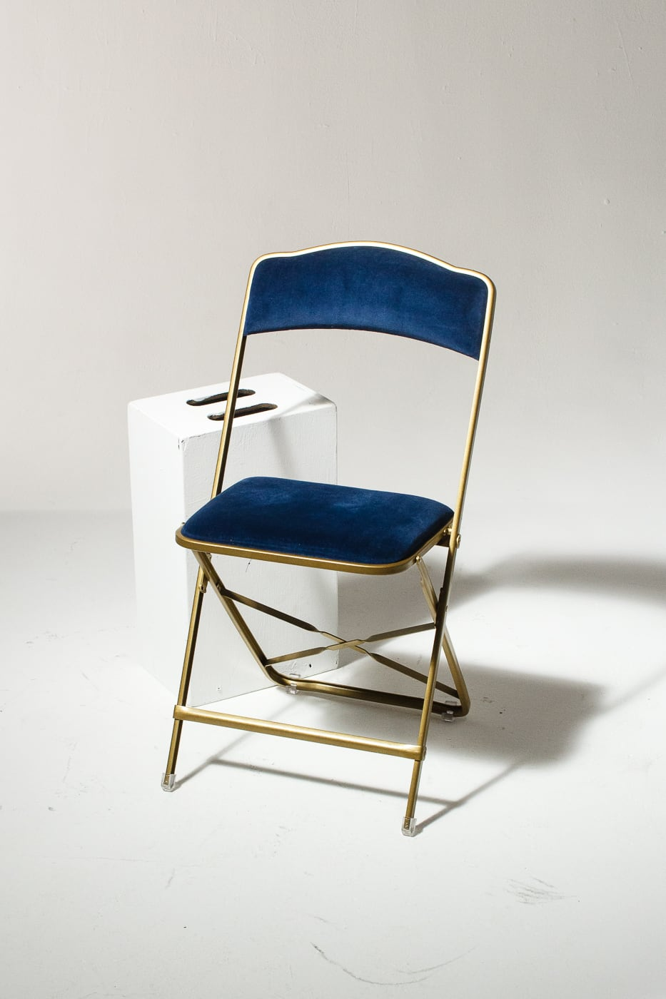 Ch345 Blue Velvet Folding Chair Prop Rental Acme Brooklyn