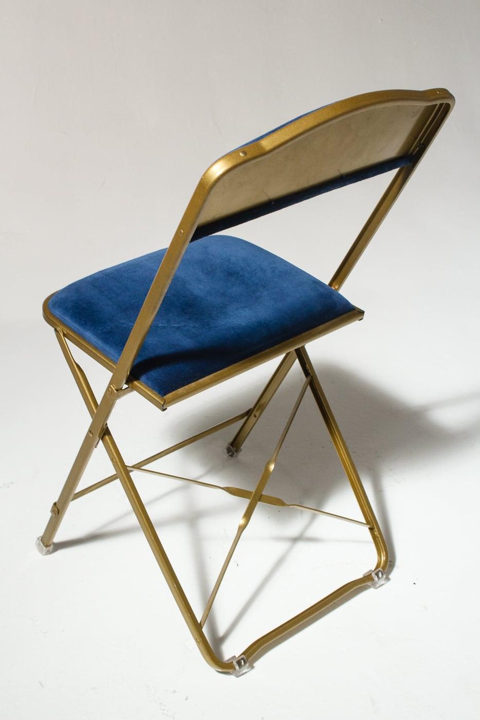 Ch345 Blue Velvet Folding Chair Prop Rental Acme Brooklyn