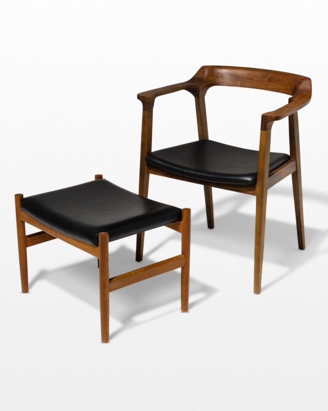 Front view of Scandi Chair and Ottoman Set