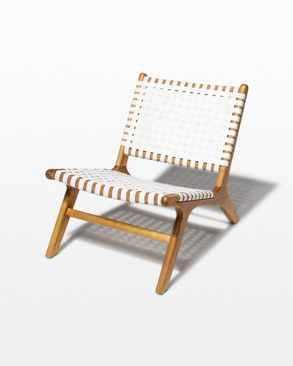 Front view of Reide White Strap Lounge Chair