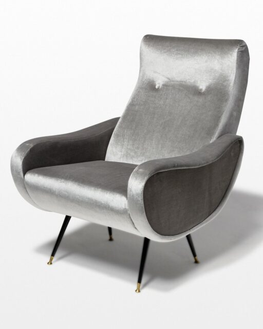 Front view of Trevi Grey Velvet Armchair